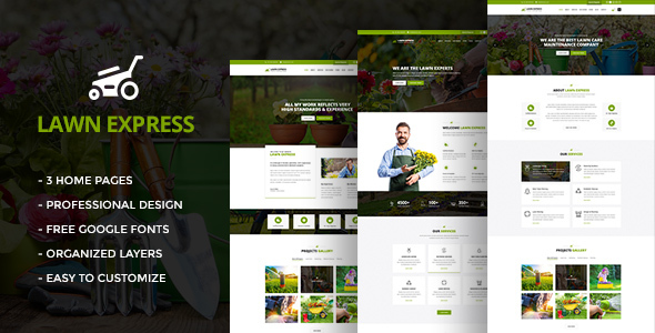 LawnExpress : Lawn, Gardening & Landscape PSD Template