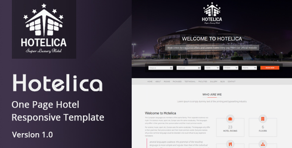 Hotelica – One Page Hotel Responsive Template
