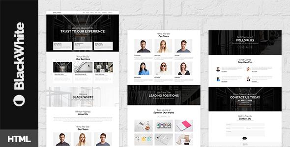 BlackWhite — Onepage Bootstrap Parallax Retina Template