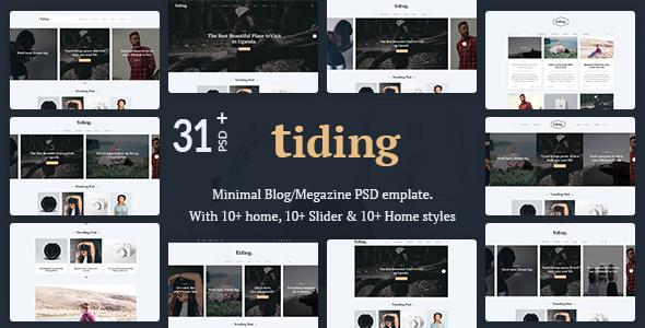 Tiding Minimal Blog/Magazine PSD Template