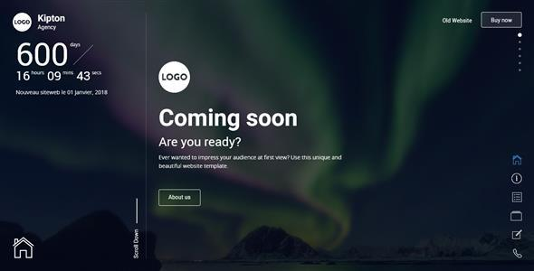Kipton – Beautiful and Creative Website Template for Coming Soon Page
