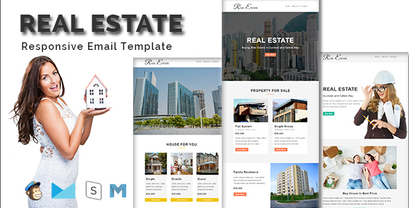 REAL ESTATE – Multipurpose Responsive Email Template With Stamp Ready Builder Access