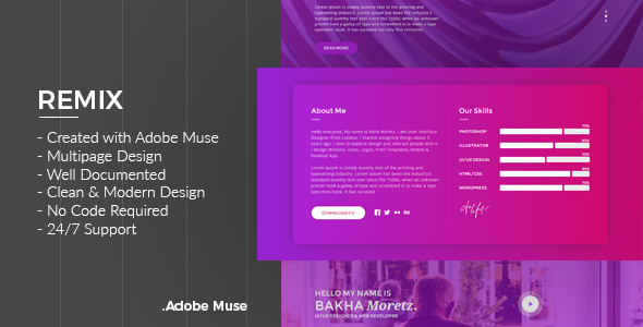 Remix – Multipurpose Creative Adobe Muse Template