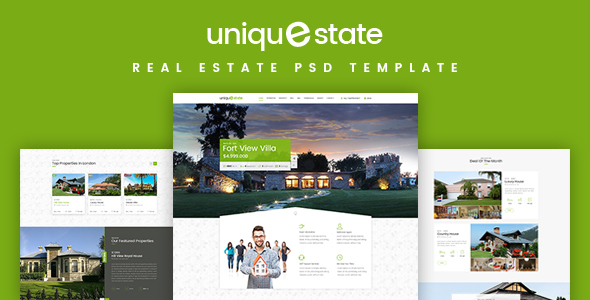 Unique – Real Estate Landing Page PSD