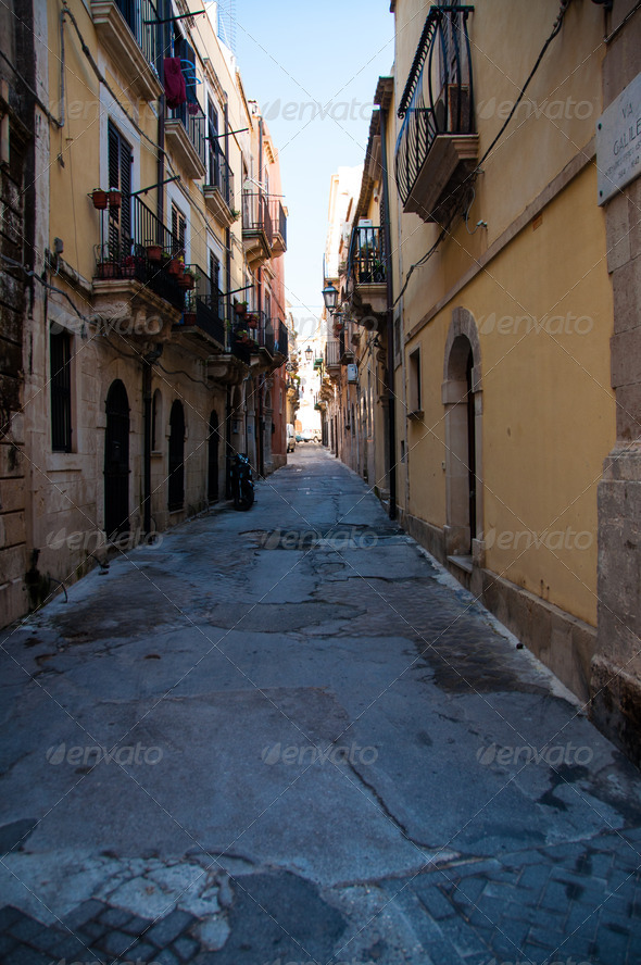 One of the narrow streets of Ortigia - Stock Photo - Images