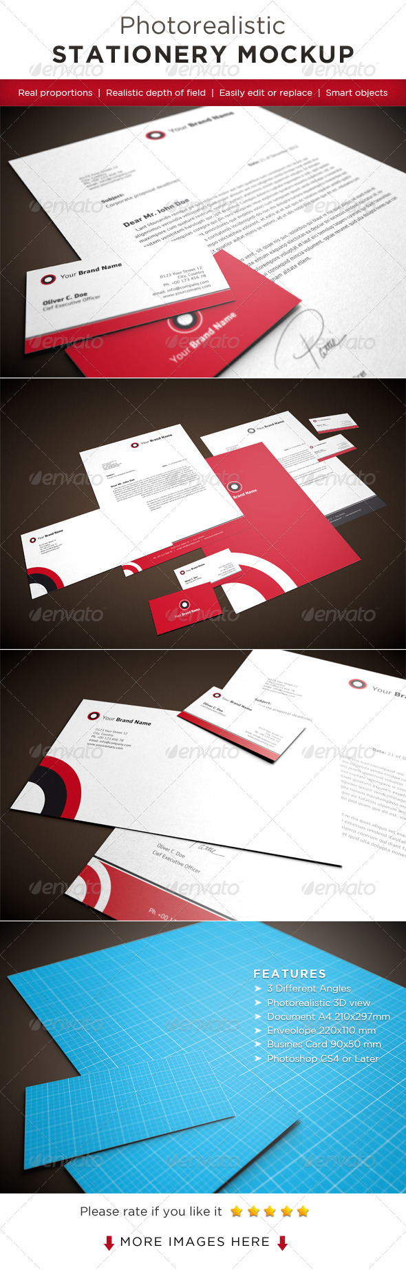 Photorealistic Stationery Mock-Ups - Stationery Print