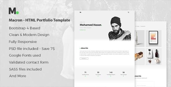 Macron – HTML Personal Portfolio Template.
