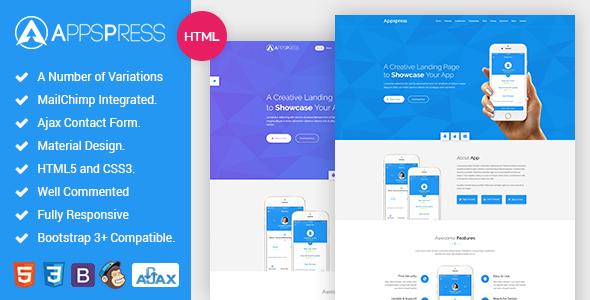 AppsPress – App landing responsive html5 Template