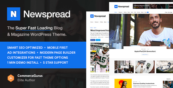 Newspread – Magazine, Blog, Newspaper and Review WordPress Theme