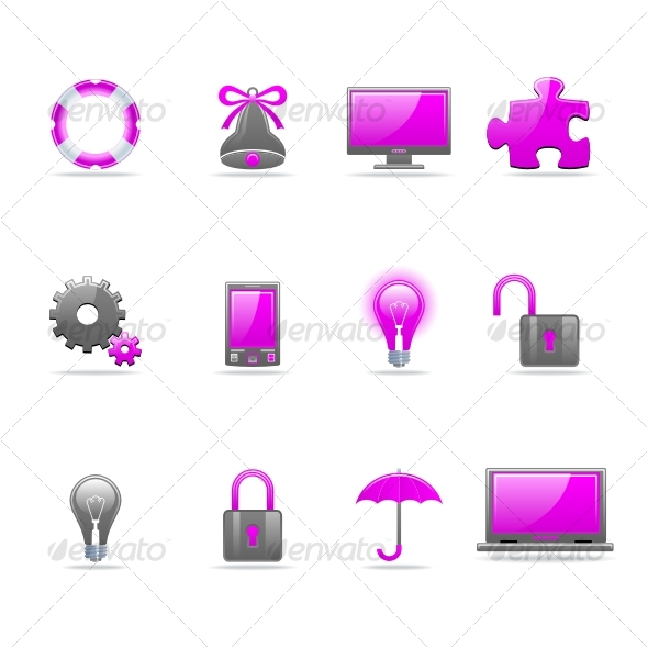 Graphic River Glossy icon set Icons -  Web 75503