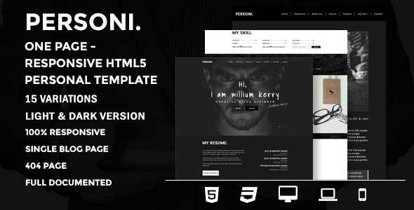 Personi | One Page – Responsive HTML5 Personal Template
