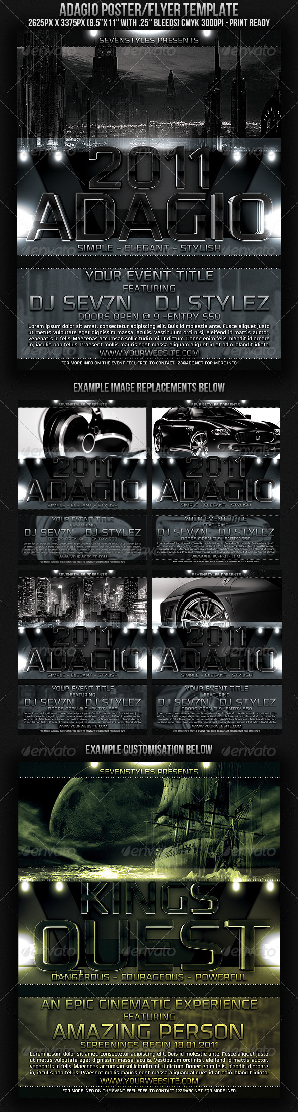 Adagio Poster/Flyer Template - Clubs & Parties Events