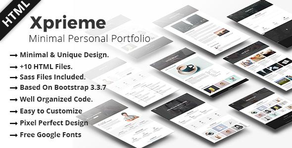 Xprieme – Minimal Personal Portfolio HTML Template.