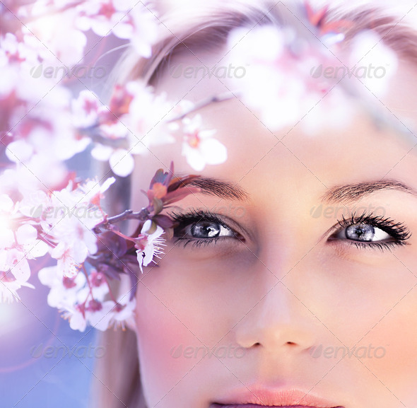Sensual portrait of a spring woman - Stock Photo - Images