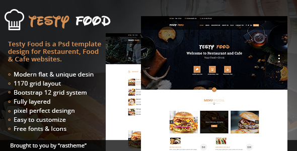 Testy Food – Cafe, Bar, Food & Restaurant PSD Template