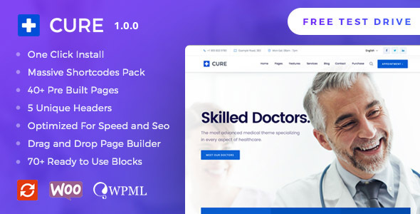 Medical Cure – Health and Medical WordPress Theme