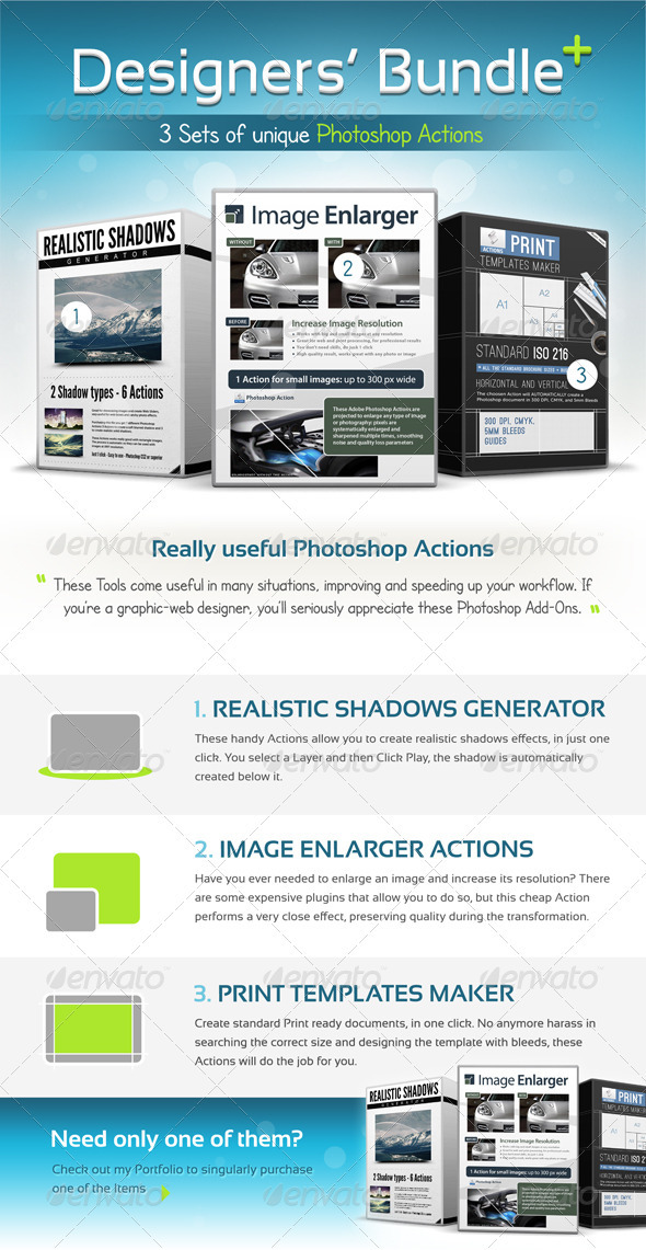 Designers Bundle, Professional Actions Pack - 3in1 - Utilities Actions
