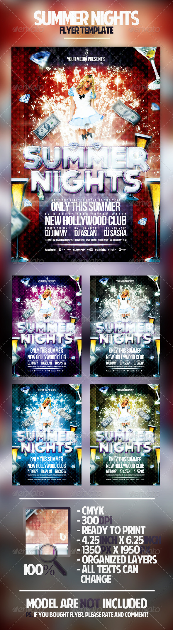 Summer Nights Flyer Template - Clubs & Parties Events
