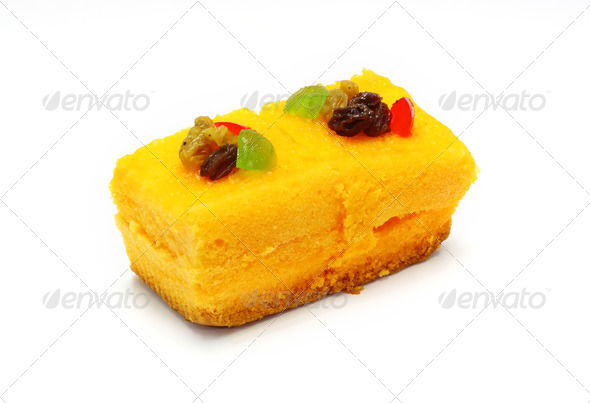 orange cake with jelly and fruits over white - Stock Photo - Images