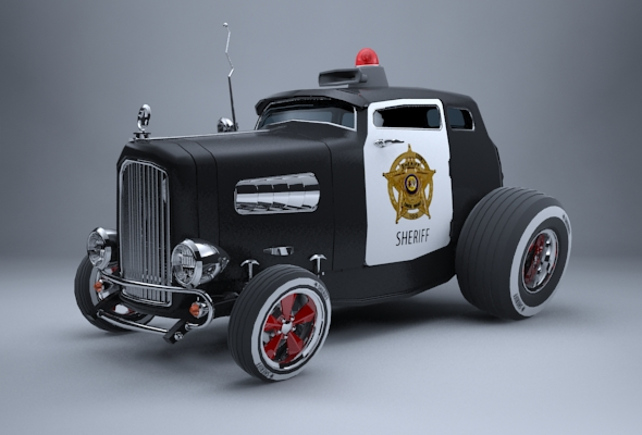 Hot Rod - Police / Sheriff Cartoon Car - 3DOcean Item for Sale