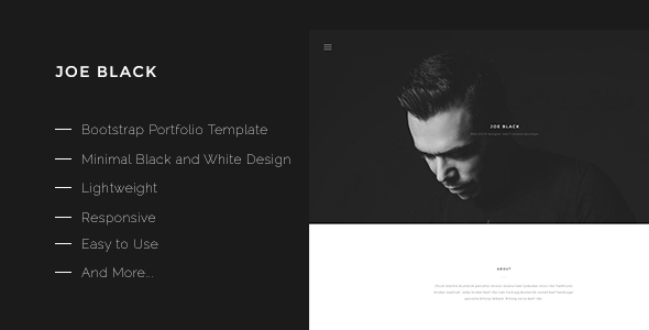 download joe black bootstrap portfolio template theme free preview
