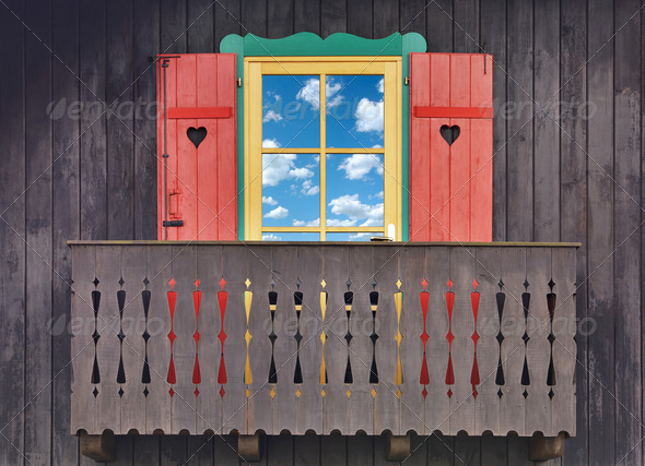 Wooden chalet balcony - Stock Photo - Images