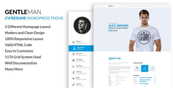 Gentleman- Vcard & Cv Resume Wordpress Theme By Codexcoder