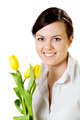Smiling Girl With Tulips - PhotoDune Item for Sale