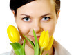 Beautiful Girl Smells Yellow Tulips - PhotoDune Item for Sale