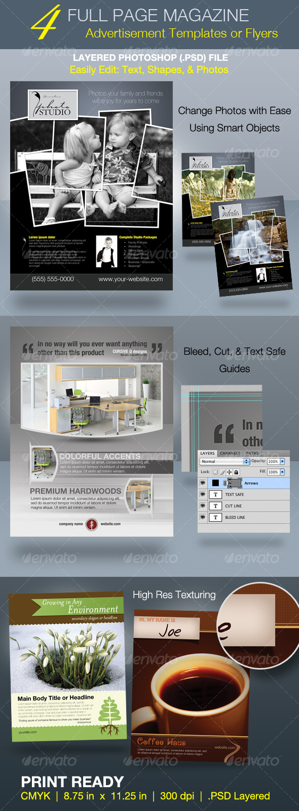 Full Page Magazine Ad or Flyer Templates - Commerce Flyers