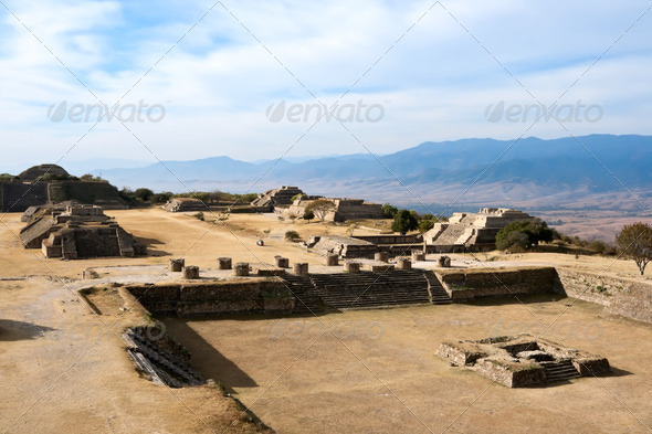 Ancient ruins on plateau Monte Alban in Mexico - Stock Photo - Images
