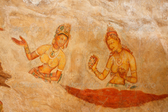 Sigiriya frescoes - Stock Photo - Images