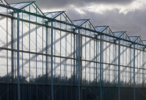 Sideview of a greenhouse with a cloudy sky - Stock Photo - Images