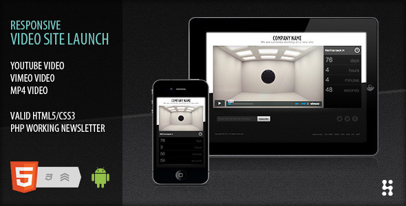 ThemeForest Responsive video site launch coming soon 1982998