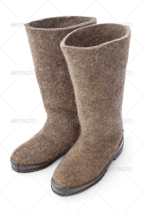 Felt boots with rubber soles - Stock Photo - Images