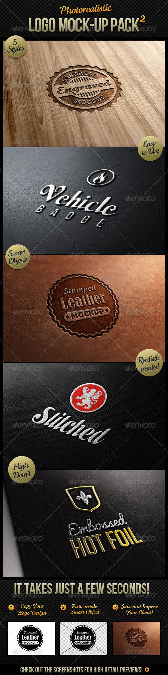 Photorealistic Logo Mock-Up Pack 2 - Logo Product Mock-Ups
