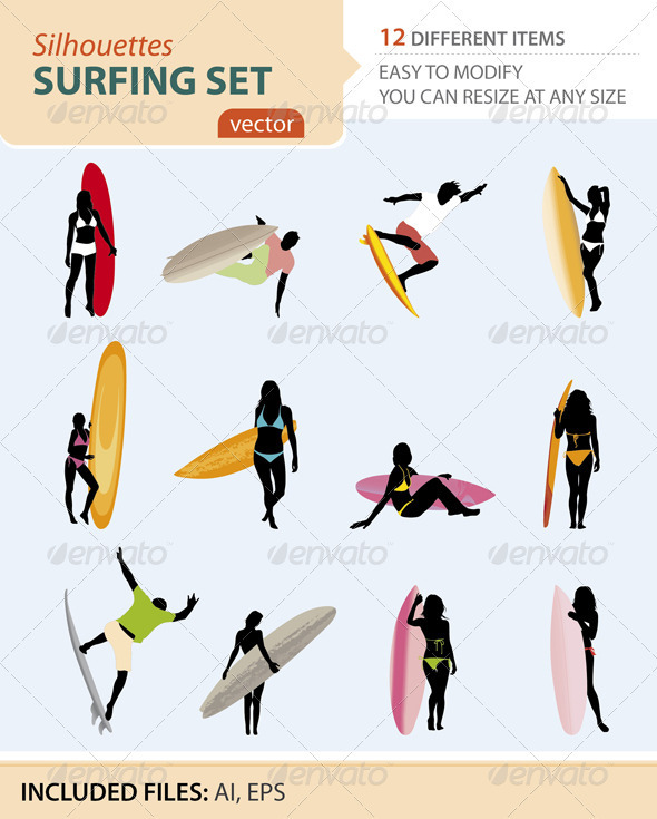 Surfing silhouettes set - Sports/Activity Conceptual