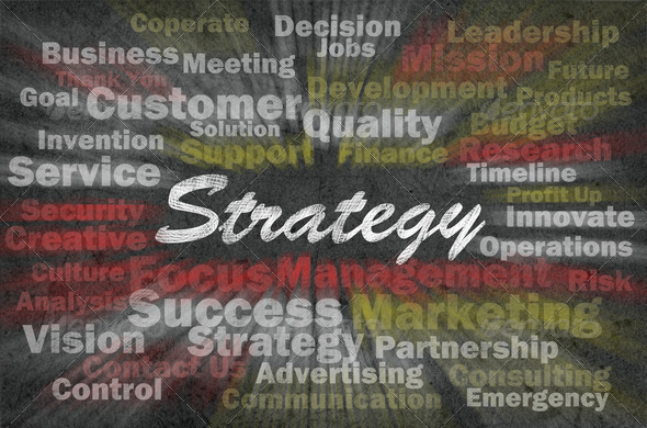 Strategy concept with business related words on retro background - Stock Photo - Images