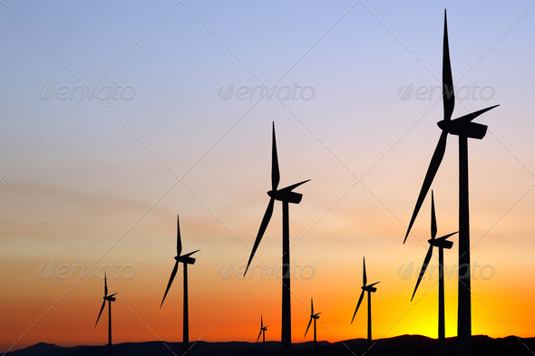 Wind power at sunset - Stock Photo - Images