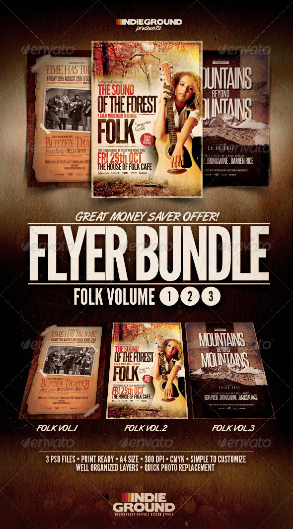 Folk Flyer/Poster Bundle Vol. 1-3 - Concerts Events