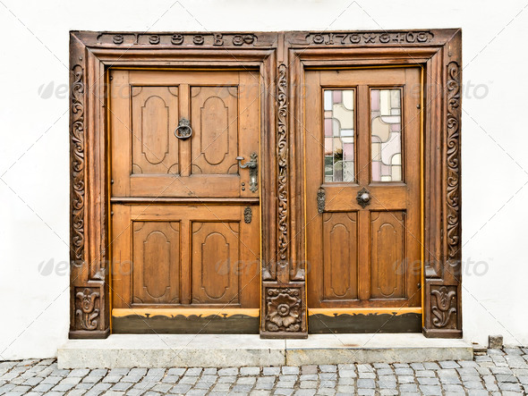 wooden doors in Ulm Germany - Stock Photo - Images