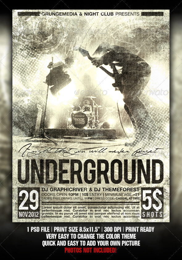 GraphicRiver Grunge Party Concert Poster 1988369