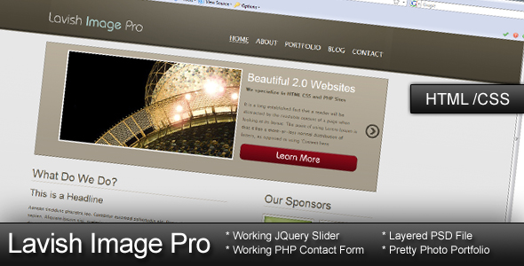 Lavish Image Pro - HTML CSS Template - Display of site.