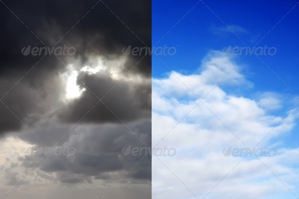 Stormy sky and blue sky - Stock Photo - Images