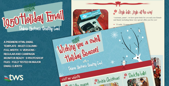 1950 Holiday Email HTML Template