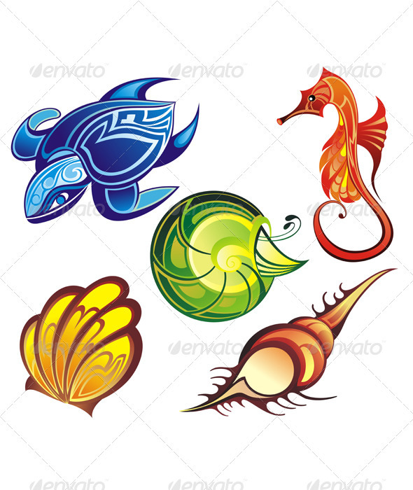 Graphic River Sea animals Vectors -  Characters  Animals 1990589