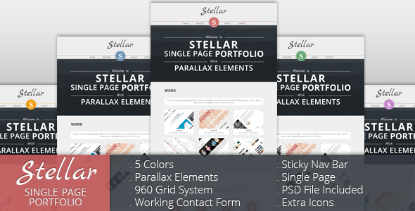 Stellar - Single Page Portfolio with Parallax - Preview