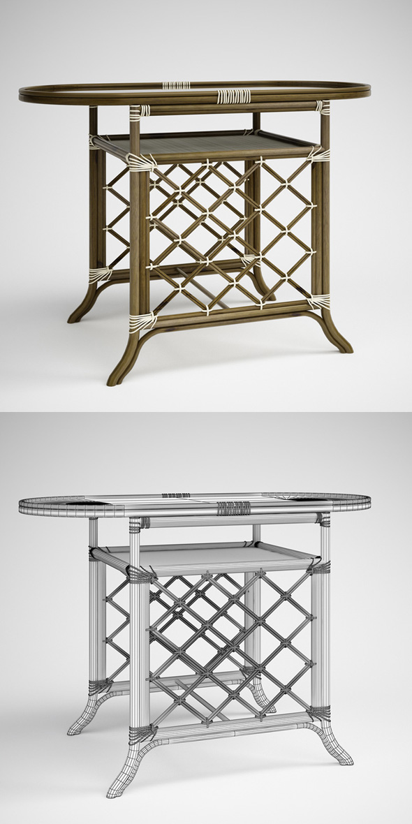 3DOcean CGAxis Rattan Table 02 231681