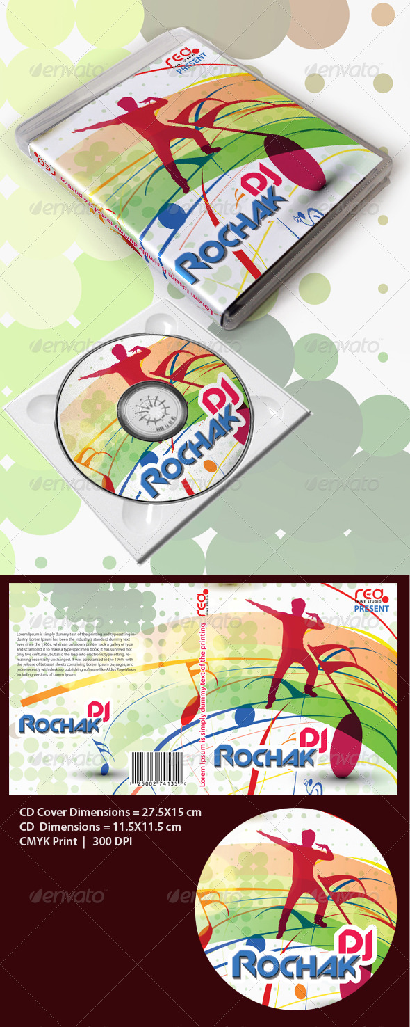 Music Disk Cover/Box Template - CD & DVD artwork Print Templates