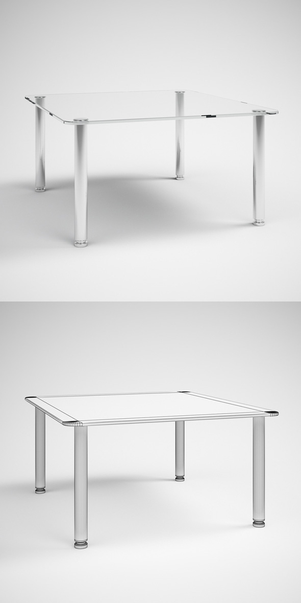 3DOcean CGAxis Modern Glass Topped Table 30 231750
